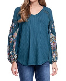 Long Sleeve Printed Waffle V-Neck Top
