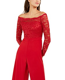 Off-The-Shoulder Lace Jumpsuit, Created For Macy's
