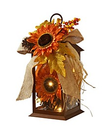 "12"" Decorated Autumn Lantern with LED Lights"