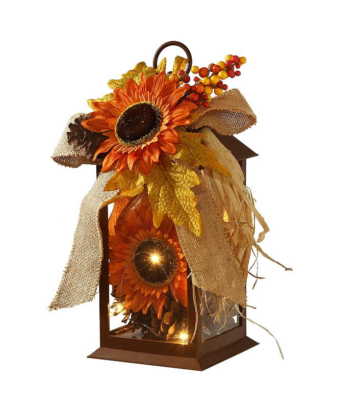 "National Tree Company 12"" Decorated Autumn Lantern with LED Lights"