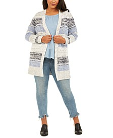 Plus Size Striped Texture Cardigan, Created For Macy's