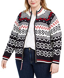 Plus Size Fair Isle Zip-Up Cardigan