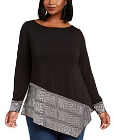 Plus Size Embellished-Hem Asymmetrical Top
