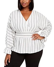 INC Plus Size Striped Smocked-Waist Top, Created For Macy's