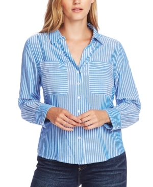 Vince Camuto Tops STRIPED BUTTON-DOWN TOP