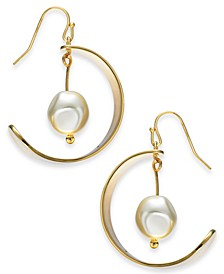 Gold-Tone Imitation Pearl Drop Hoop Earrings, Created For Macy's