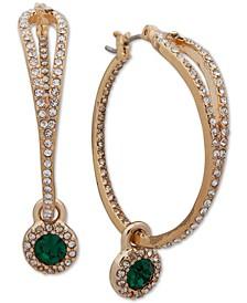 "Medium Gold-Tone Pavé & Stone Charm Hoop Earrings, 1-1/2"""