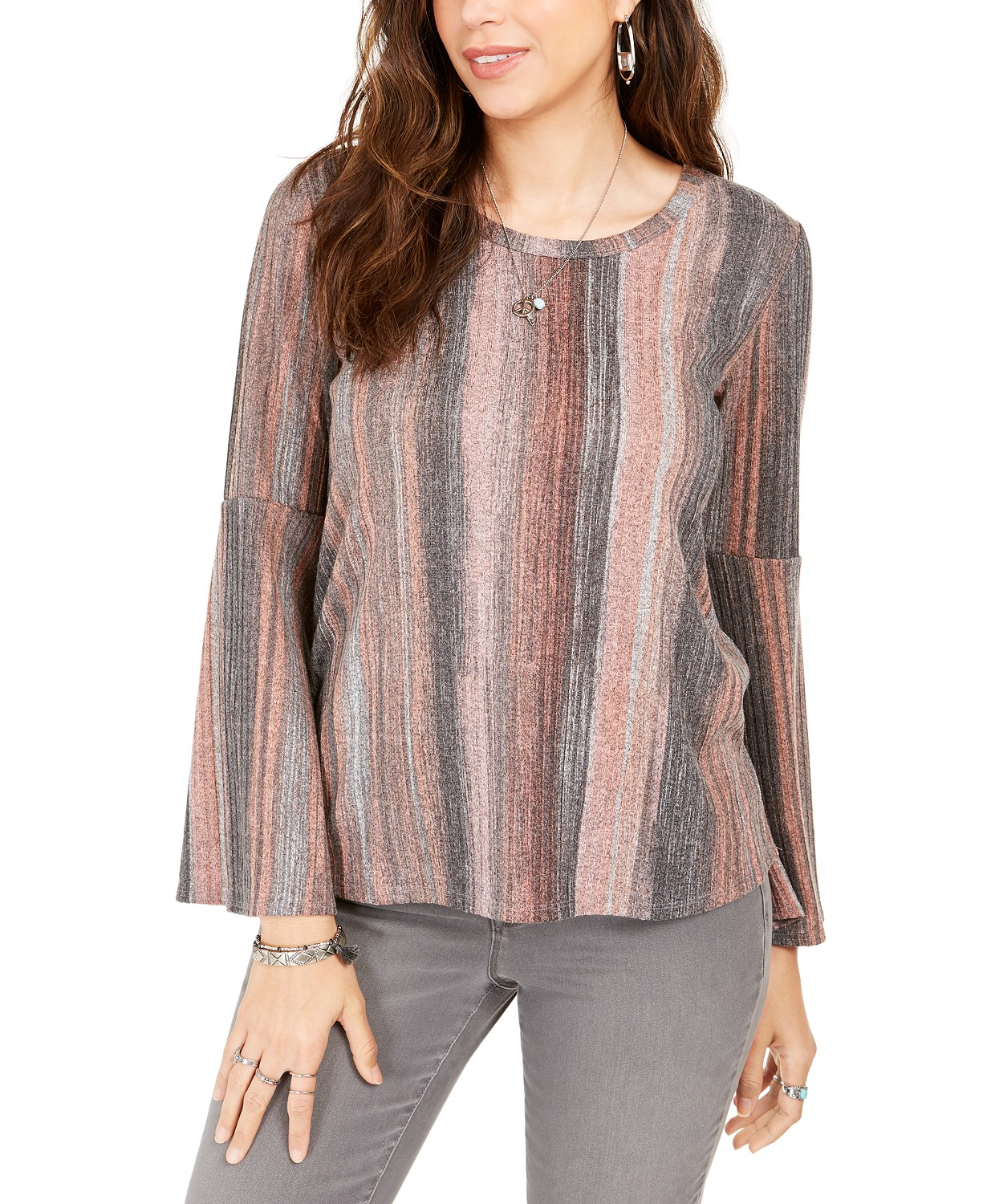 Style & Co Striped Bell-Sleeve Top, Created For Macy's
