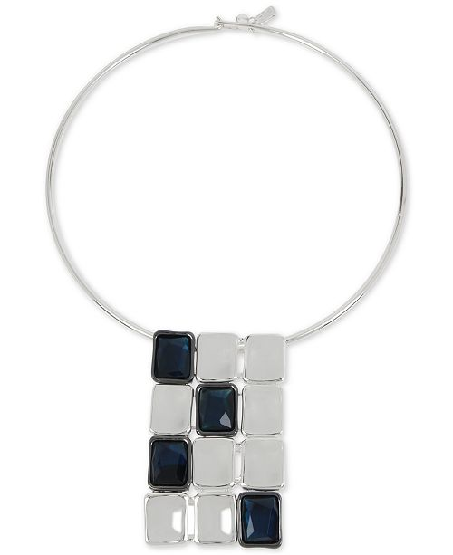 "Robert Lee Morris Soho Silver-Tone Stone Geometric 16-1/2"" Statement Necklace"