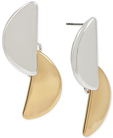 Two-Tone Half-Circle Double Drop Earrings