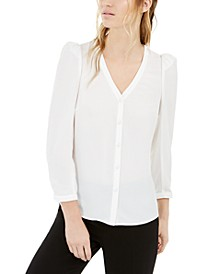 Puff-Sleeve Button-Up Blouse, Created For Macy's