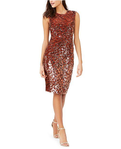 Vince Camuto Velvet Sequin Animal-Print Dress