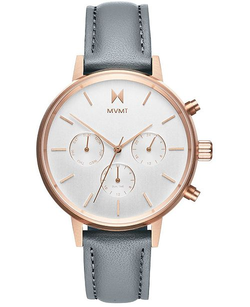 MVMT Women's Nova Dorado Gray Leather Strap Watch 38mm