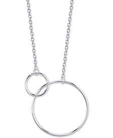 "Interlocking Circle Pendant Necklace in Sterling Silver, 16"" + 2"" extender"