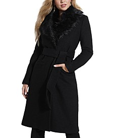 Maria Faux-Fur-Collar Walker Coat