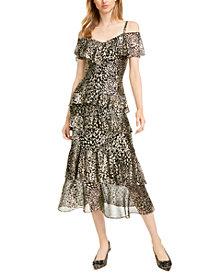 RACHEL Rachel Roy Tiered Cold-Shoulder Maxi Dress