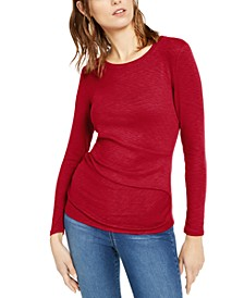 INC Long-Sleeve Draped T-Shirt, Created for Macy's