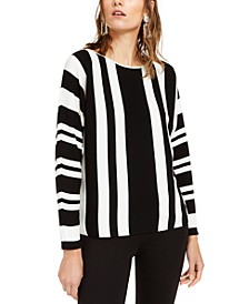 INC Striped Colorblocked Tunic Sweater, Created For Macy's