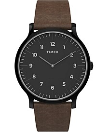 Men's Norway Brown Leather Strap Watch 40mm