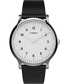 Men's Norway Black Leather Strap Watch 40mm