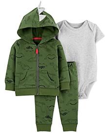 Baby Boys 3-Pc. Cotton Dinosaur-Print Hoodie, Bodysuit & Pants Set