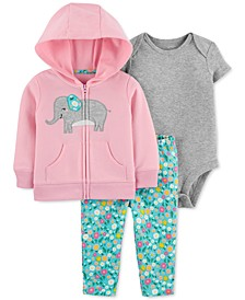 Baby Girls 3-Pc. Cotton Elephant Hoodie, Bodysuit & Floral-Print Pants Set