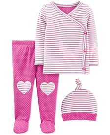 Baby Girls 3-Pc. Cotton Hat, Striped Top & Footed Heart Pants Set