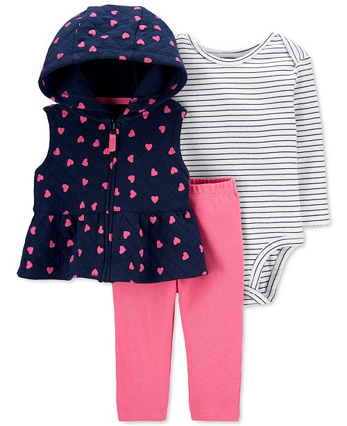 Carter's Baby Girls 3-Pc. Hooded Quilted Vest, Striped Bodysuit & Pants Set