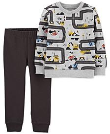 Baby Boys 2-Pc. Cotton Construction-Print Top & Jogger Pants Set
