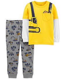 Baby Boys 2-Pc. Layered-Look T-Shirt & Construction-Print Jogger Pants Set