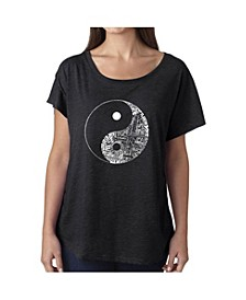 Women's Dolman Cut Word Art Shirt - Yin Yang
