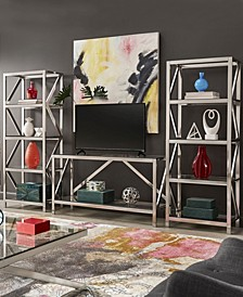 Brynn Brushed Nickel Entertainment Center