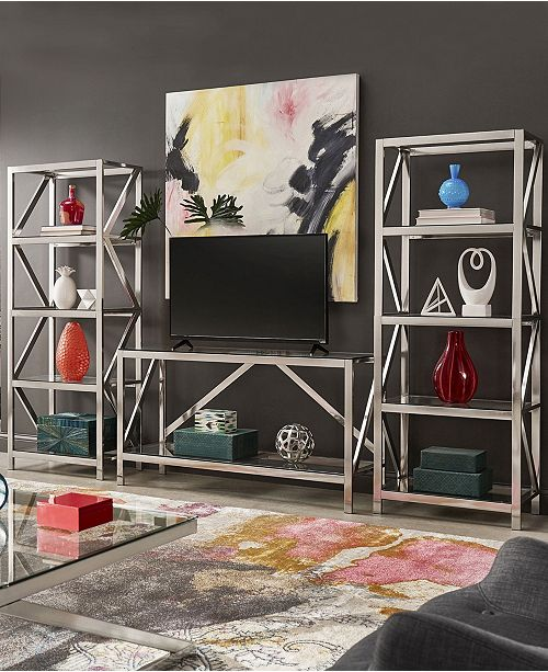iNSPIRE Q Brynn Brushed Nickel Entertainment Center