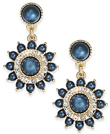 Gold-Tone Crystal & Imitation Pearl Burst Stud Drop Earrings, Created For Macy's