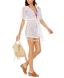 Solid Crochet Fringe Bottom Tie-Front Kimono Cover-Up, Created for Macy's