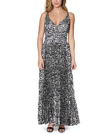 Animal-Print Pleated Gown