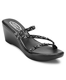 Callisto Shana Embellished Thong Wedge Sandals