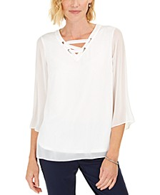 Lace-Up Grommet-Trim Top, Created For Macy's