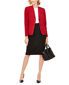 Wing-Lapel Pencil Skirt Suit
