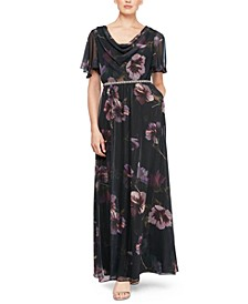 Petite Embellished Floral-Print Gown