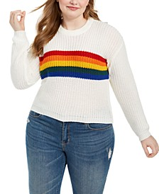 Trendy Plus Size Rainbow Sweater