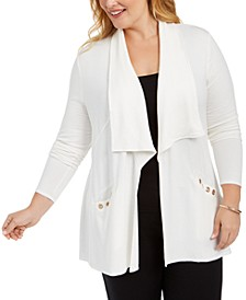 Plus Size Grommet-Trim Cardigan