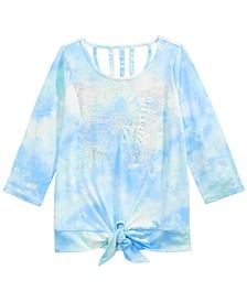 Big Girls Sparkle Butterfly Tie-Dyed Shirt