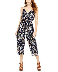 Juniors' Surplice Printed Gaucho Jumpsuit