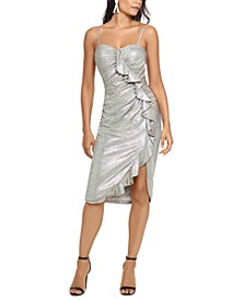 Metallic Ruffled Sheath Dress