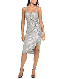 XSCAPE Metallic Ruffled Sheath Dress