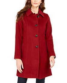 Petite Single-Breasted Club-Collar Coat