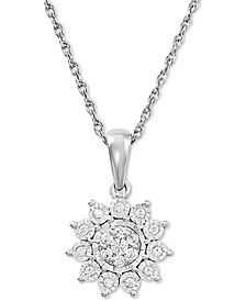 "Diamond Flower 18"" Pendant Necklace (1/4 ct. t.w.) in Sterling Silver"