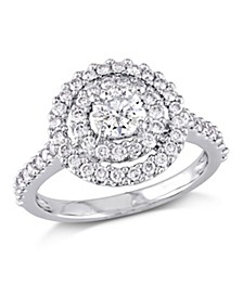 Certified Diamond (1 ct. t.w.) Double Halo Engagement Ring in 14k White Gold