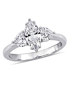 Marquise and Heart Certified Diamond (1 3/4 ct. t.w.) 3 Stone Engagement Ring in 18k White Gold